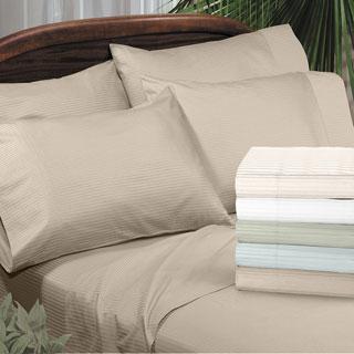 Grand Luxe Main Street Dobby Stripe Egyptian Cotton 310 Thread Count Sateen Deep Pocket Sheet Set