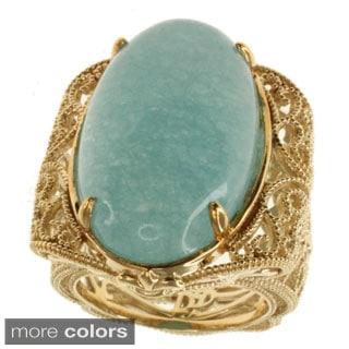 Dallas Prince Sterling Silver Aquamarine or Salmon Coral Filagree Ring