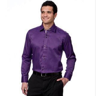 Domani Blue Luxe Men's Purple/ Floral Trim Button-down Dress Shirt