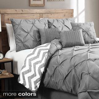 Ella 7-piece Pinch Pleat Reversible Comforter Set