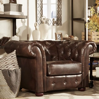 TRIBECCA HOME Knightsbridge Brown Bonded Leather Tufted Scroll Arm Chesterfield Chair