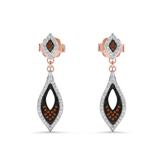 De Couer 10k Rose Gold 1/3ct Diamond Pave Drop Earrings (H-I, I2)