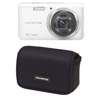 Olympus Stylus Smart VH-520 14MP White Digital Camera with Case