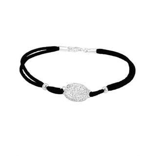 Sterling Silver and Leather White Crystal Bracelet