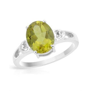 Ring with 3.86ct TW Created Alexandrite/ Topazes in .925 Sterling Silver