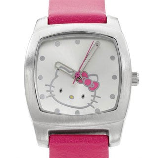 Girls Hello Kitty Pink Leather Quartz Watch
