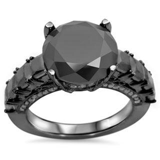 Noori 14k Black Gold 4 4/5ct Black Round-cut Diamond Engagement Ring