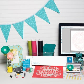 Silhouette Cameo 2 Electronic Cutting Machine Bundle + Bonus $25 Gift Card + Vinyl Starter Kit + Accessories