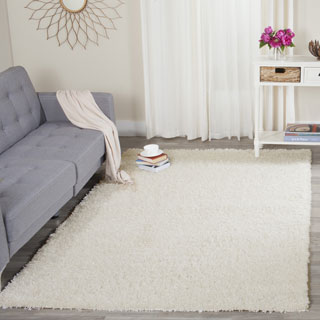 Safavieh California Cozy Solid White Shag Rug 4 Square