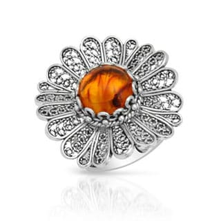 in Turkey Cocktail Ring with 1.3ct TW Amber in .925 Sterling Silver