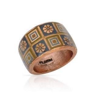 Pilgrim Skanderborg Geometric and Floral Red Copper and Resin Ring