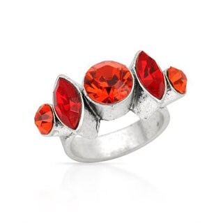 Pilgrim Skanderborg Silvertone 5-stone Round and Marquise-cut Red Crystal Ring
