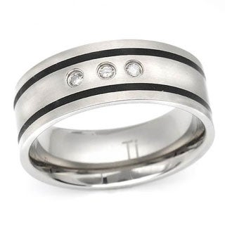 Men's Band Ring with Diamonds in Titanium