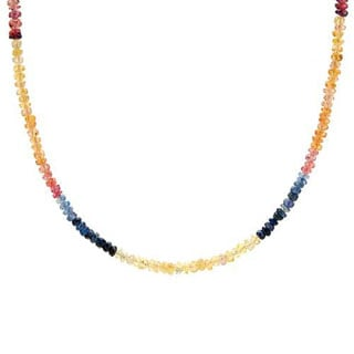 Necklace with 4ct TW Sapphires in .925 Sterling Silver