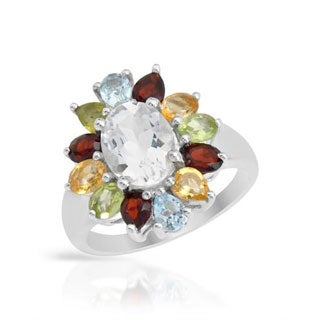 Ring with 4.03ct TW Citrines, Garnets, Peridots, Quartz and Topazes Made of .925 Sterling Silver