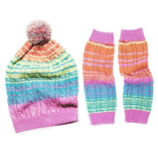 Muk Luks Ombre Cable Slouch Beanie & Armwarmers Set