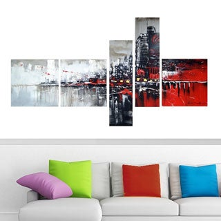 Red and Black Cityscape' Hand-painted Canvas Oil Painting