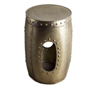Round Rivet Barrel Brass Stool (India)