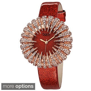 Burgi Women's Sparkling Quartz Leather Strap Watch