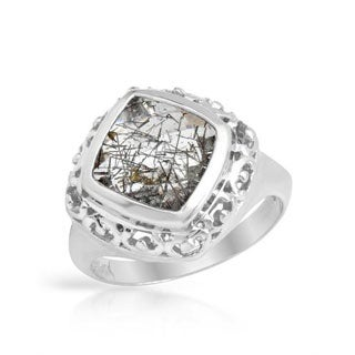 Ring with 3.4ct TW Rutilated Quartz .925 Sterling Silver