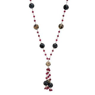 Necklace with 76.16ct TW Garnets/ Jaspers in .925 Sterling Silver