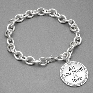 Silvertone Crystal 'All you need is love' Charm Bracelet