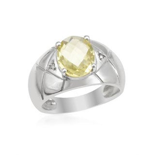Ring with 1.85ct TW Diamonds/ Quartz in .925 Sterling Silver