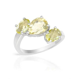 Ring with 2.9ct TW Quartz of .925 Sterling Silver
