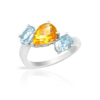 Ring with 3.55ct TW Citrine/ Topazes in .925 Sterling Silver