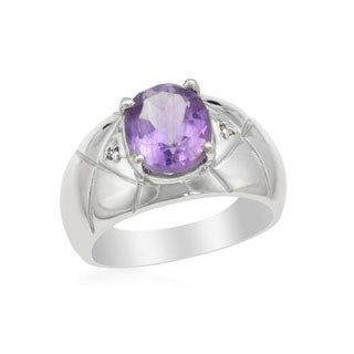 Ring with 2.35ct TW Amethyst/ Diamonds 925 Sterling Silver