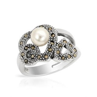 Ring with Faux Pearls/ Marcasites in .925 Sterling Silver