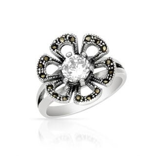 Ring with Cubic Zirconia/ Marcasites in .925 Sterling Silver