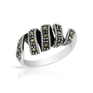 Sterling Silver Marcasite Spiral Ring