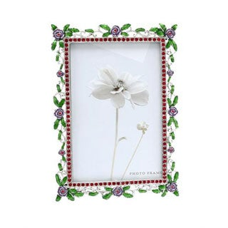 Flower Border Two-tone Metal and Enamel Picture Frame