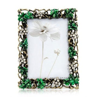 Two-tone Green Metal and Enamel Picture Frame
