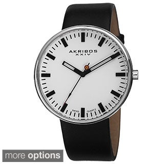 Akribos XXIV Men's Swiss Quartz Genuine Leather Strap Watch