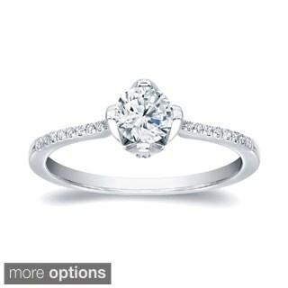 Auriya 14k Gold 4/5ct TDW Certified Round Diamond Engagement Ring (H-I, SI1-SI2)