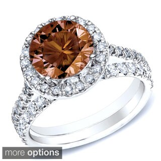 Auriya 14k Gold 1ct TDW Brown Round Diamond Halo Bridal Ring Set (SI1-SI2)