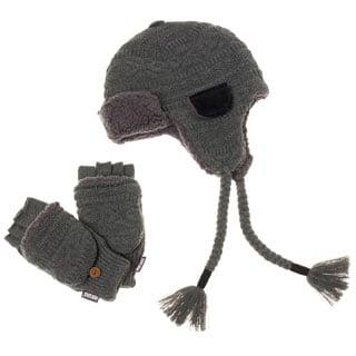 Muk Luks Men's Grey Trapper Hat with Flip Mitten Set