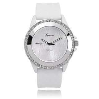 Geneva Platinum Rhinestone Silicone Band Watch
