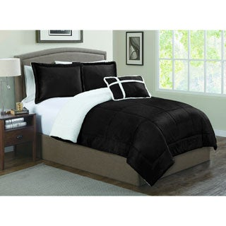 Micro Mink Reversible to Sherpa 4-piece Comforter Set