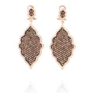 Gold Over Silver Brown Cubic Zirconia Dangle Earrings