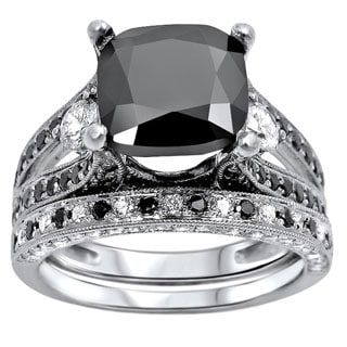 14k White Gold 4 3/5ct Black and White Cushion-cut Diamond Bridal Ring Set (F-G, SI1-SI2)