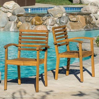 Romano Outdoor Acacia Wood Armchair (Set of 2)
