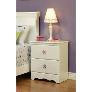 Sandberg Furniture Dulce White Nightstand with Floral Knobs