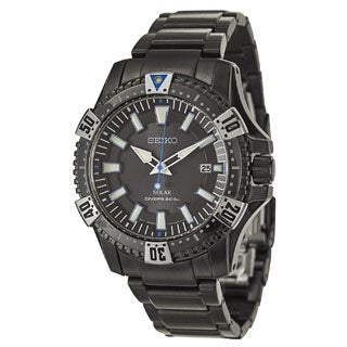 Seiko Men's SNE281 Black Stainless Steel Divers Watch