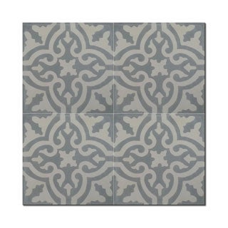 Argana Pack of 12 Grey-filled Handmade Cement and Granite Moroccan Tile (Morocco)