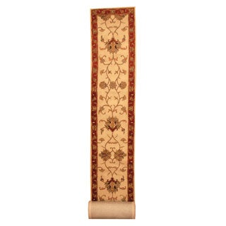 Herat Oriental Indo Hand-tufted Tabriz Ivory/ Burgundy Rug (2'8 x 26')