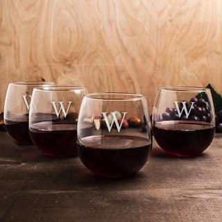 Personalized Stemless Red Wine Glasses (Set of 4)