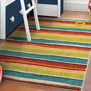Innocence Collection Dreamy Stripe Multi Area Rug (3'11 x 5'5)
